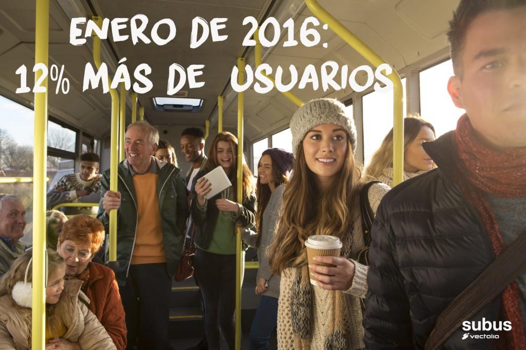 El número de viajeros sigue aumentando en enero de 2016
